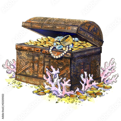 ancient treasure chest coins jewelry isolated underwater