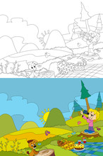 Cartoon Scene Of Camping In The Mountains - Picnic - Girl And Her And Dog - With Coloring Page - Illustration For Children
