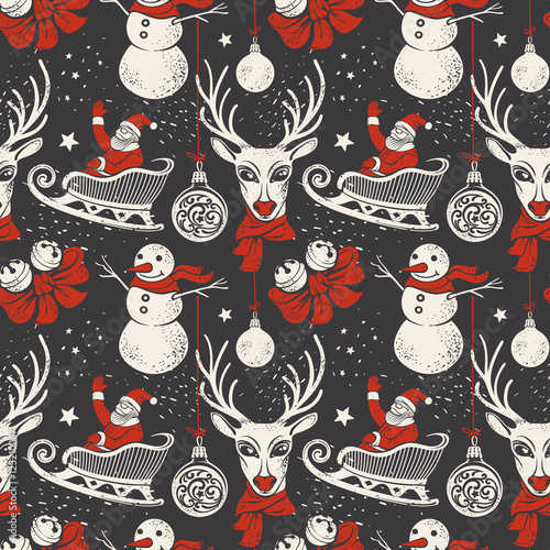 Cotton fabric Vintage Hand-drawn Christmas Background with Deer, Santa Sleigh and Snowman