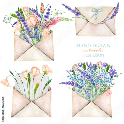 Photo  Illustration with watercolor vintage mail envelopes and flowers, hand drawn on a
