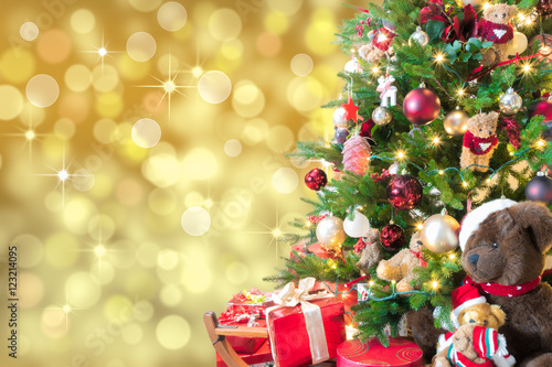 Gold Christmas Background With Defocused Lights Decorated Christmas