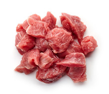 Heap Of Raw Diced Beef Meat Isolated On White, From Above