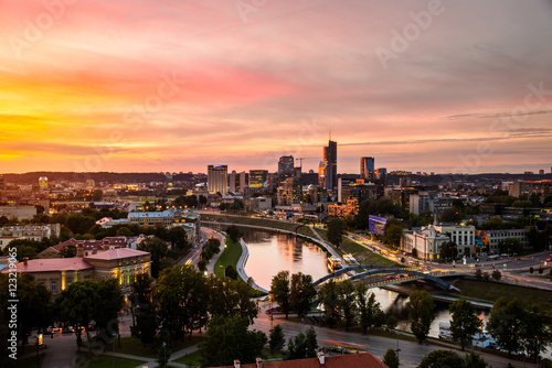 Aerial view of Vilnius, Lithuania at sunset