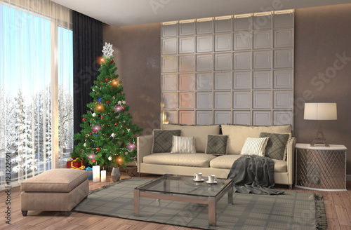 Fototapety, obrazy: Christmas tree with decorations in the living room. 3d illustrat