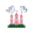 cute pink fantasy castle vector illustration design