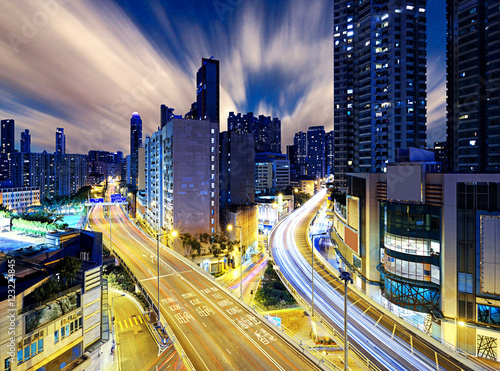 Foto op Canvas Brazilië Hong Kong downtown night