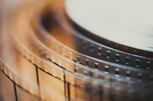 Movie Film Reel Detail, Unrolled Film Close Up