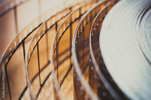 Movie film reel detail, unrolled film close up