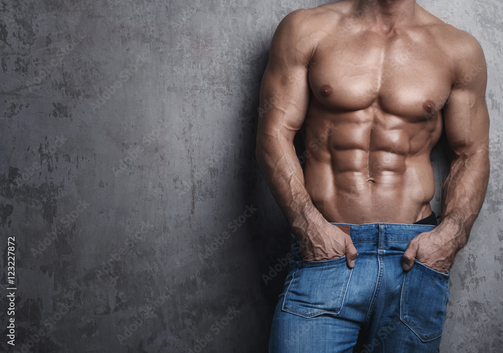 Photo Art Print Muscular Torso Of Man Wearing Jeans Europosters