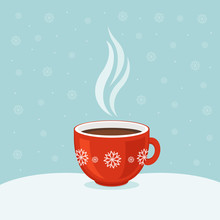 Hot Coffee In Red Cup. Winter Background. Christmas Card.