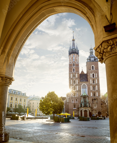 Fototapeta Historic Krakow Market Square and St. Mary's church in the Morni obraz