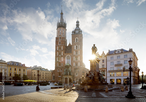 plakat Panorama of old city center with Adam Mickiewicz monument and St