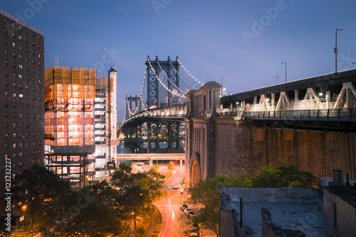 USA, New York City, Manhattan Bridge at night Poster
