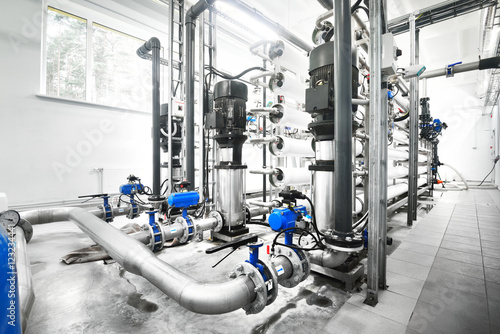 Photo Large industrial water treatment and boiler room