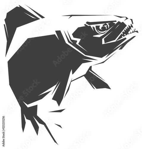 Fotografie, Obraz  Piranha black vector illustration
