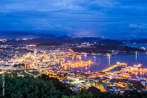 Sasebo downtown skyline at night, Nagasaki, Japan   - Buy