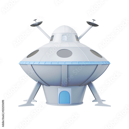 Foto op Canvas UFO UFO isolated on white background. 3d rendering