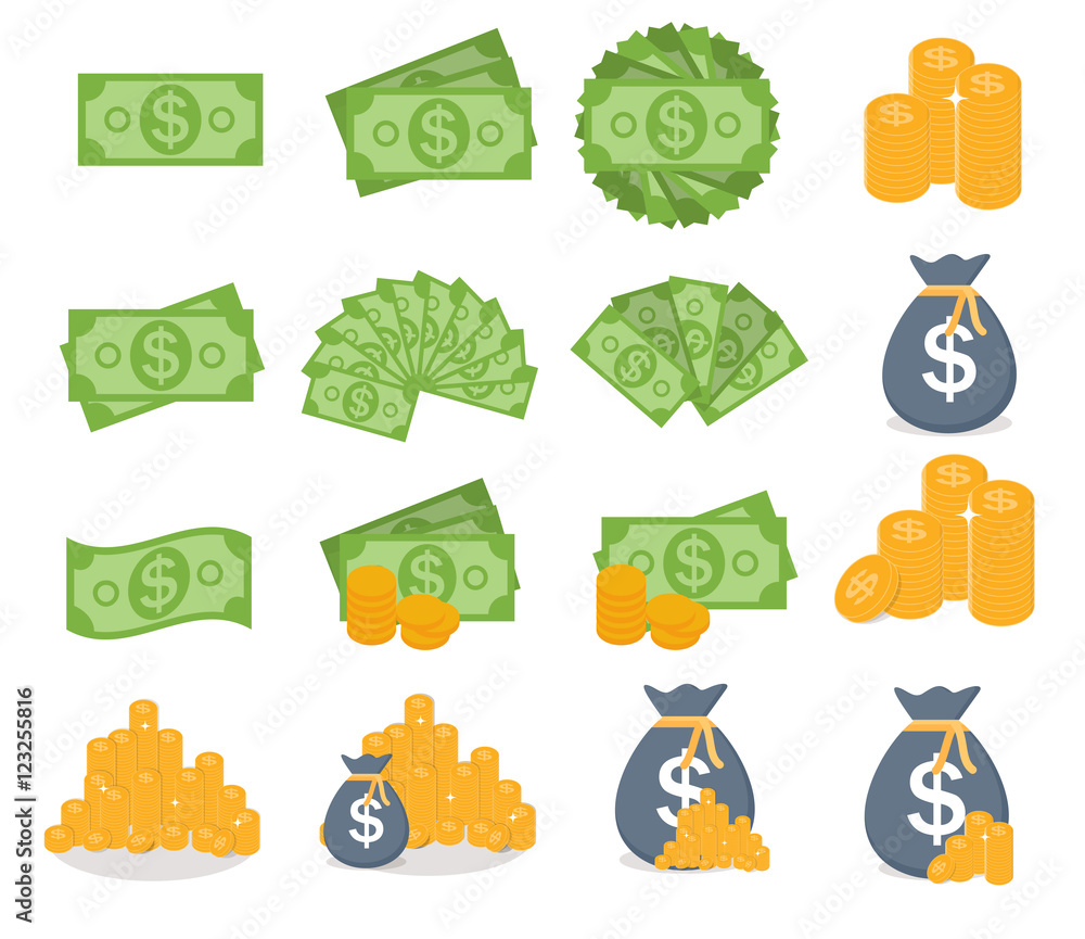 Fototapety, obrazy: US Dollar Stack Paper Banknotes and Gold Coins Icon Sign Collect