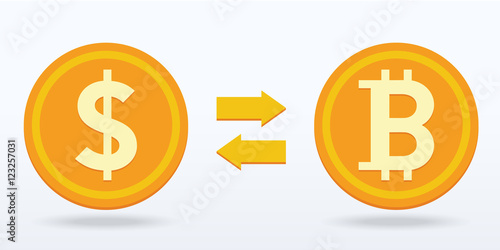 Bitcoin Exchange Flat Design Digital Or Virtual Coin Vector Ilration Eps10