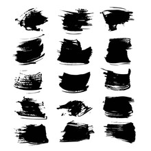 Abstract Textured Black Strokes Vector Objects Isolated On A Whi