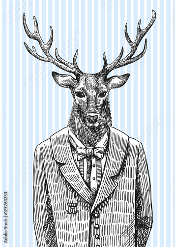 Poster Animaux de Hipster Deer in jacket.