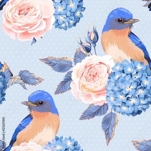 bezszwowi-rocznikow-kwiaty-i-ptaki