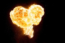 Hot Fire Love Heart Full Of Power And Energy. Red Orange Burning Heart Shape Symbol For E.g. Valentine's Day, Love, Passion, Hope, Fight, Friendship, Power, Health Or Energy