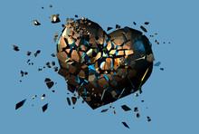 Gold Polygonal Broken Heart On Blue Background