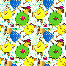 Doodle Green Sheep With Violet Heart, Yellow Chicken And Cow Characters Seamless Pattern With Retro Halftones. Kid's Drawings Style.