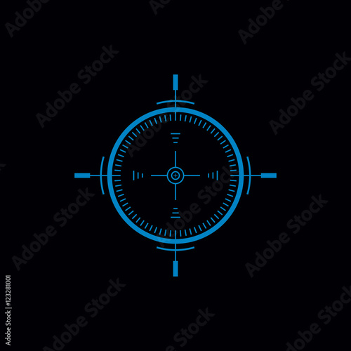 Fotografía  Gun Sight Flat Vector Monochrome