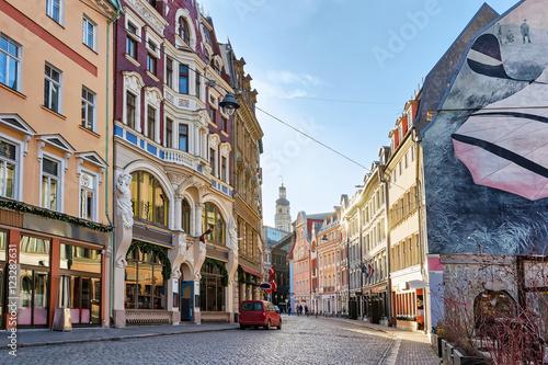 Fotografie, Obraz Street in Old city of Riga at Christmas