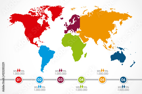World map infographic with 6 continent in colors and timeline world map infographic with 6 continent in colors and timeline population vector illustration gumiabroncs Images