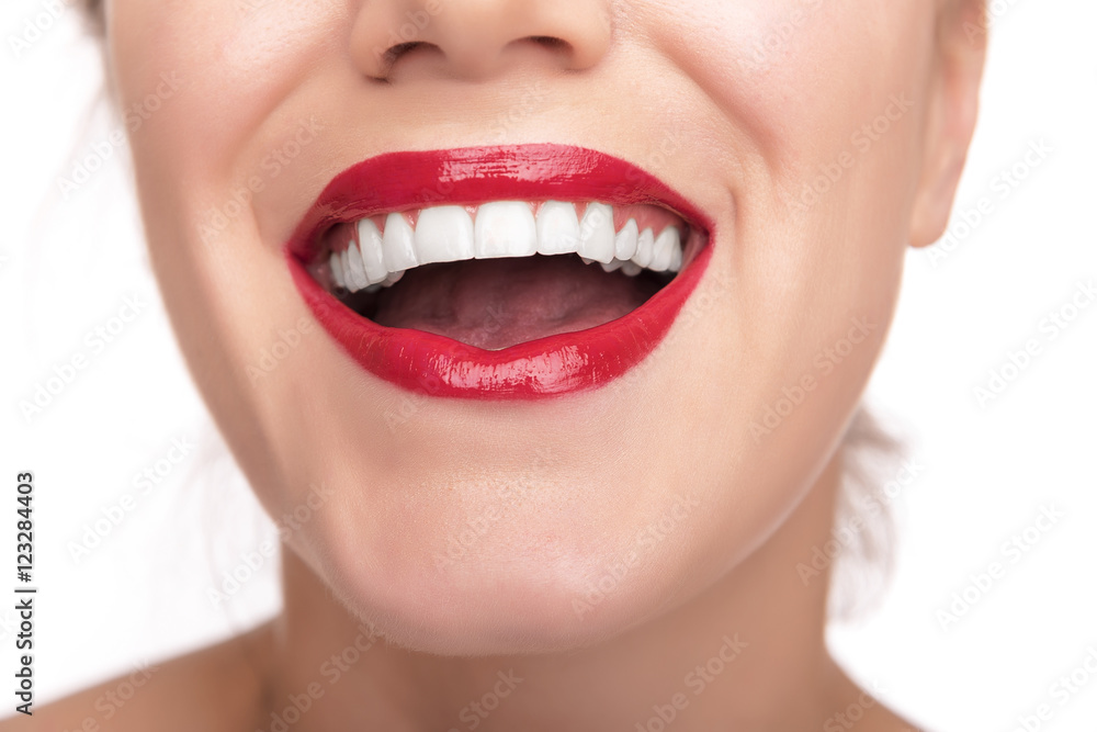 Beautiful red lips and teeth. Poster