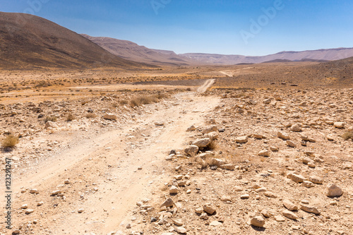 Foto op Canvas Midden Oosten Road trail desert crater stone walls landscape, Middle East.