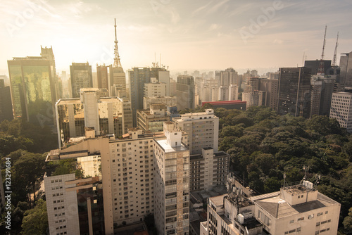View of Sao Paulo Buildings by Sunrise
