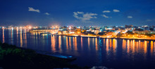 Panoramic View Of Havana Bay And Skyline At Night