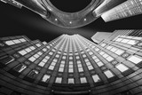 Fine Art, black and white, abstract, upward perspective of New York skyscrapers - 123292649