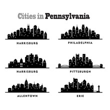City Skyline Cityscape Of Cities In Pennsylvania - Silhouette