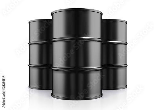 Fotomural 3D illustration of Black Metal Oil Barrels on White Background.