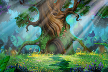 Morning Forest. Video Game's Digital CG Artwork, Concept Illustration, Realistic Cartoon Style Background