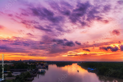 Foto op Aluminium Palermo Aerial view beautiful sunset at Tapee river Suratthani,Thailand.