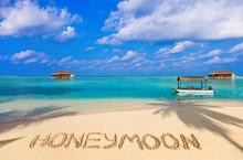 Word Honeymoon On Beach