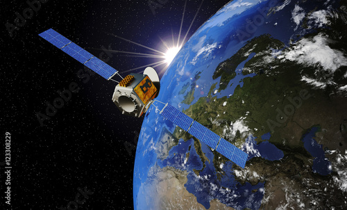 satellite orbiting earth 3d illustration buy this stock