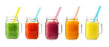Collage Of Glass Jars With Fresh Delicious Smoothie And Straw On White Background