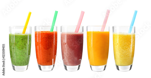 Poster Sap Collage of glasses with fresh delicious smoothie and straw on white background