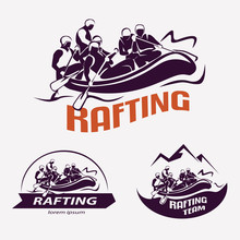Set Of Rafting Templates For Labels, Emblems, Badges Or Logos, W