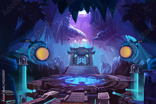 Ancient Chinese Mystery Cave with Science Fiction Building Canvas Print