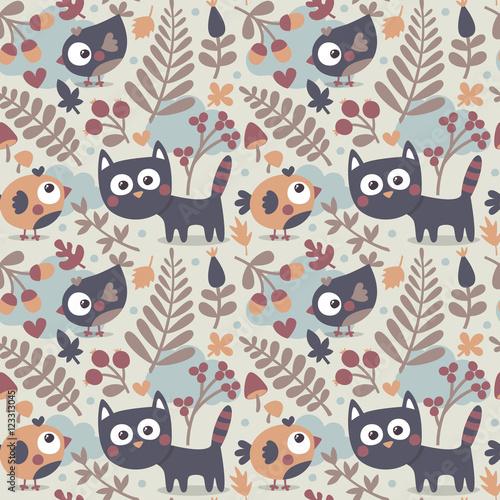 jednolity-wzor-zwierze-ladny-jesien-z-kotem-ptakiem-kwiatem-roslina-lisciem-jagoda-sercem-przyjacielem-kwiatowa-natura-zoladz-grzyb-witaj-kotku