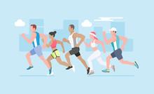 Running Marathon. Vector Illus...
