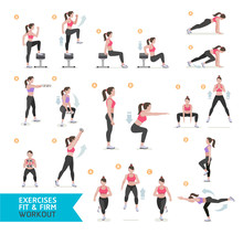 Woman Workout Fitness, Aerobic...